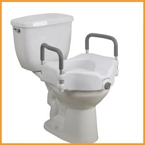 Drive Medical Elevated Raised Toilet Seat, Removable Padded Arms