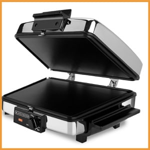 BLACK+DECKER 3-in-1 Waffle Maker with Nonstick Reversible Plates, Stainless Steel