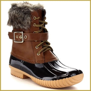 Nature Breeze Women's Lace Up Buckled Duck Waterproof Snow Boots