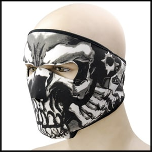 Motorcycle Biker Black Neoprene 2-in 1 Black reversible Skull Assasin Full Face Mask