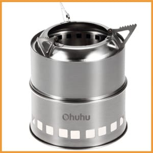 Ohuhu Portable Wood Burning Camping Stove, Stainless Steel