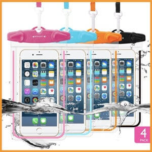 FITFORT 4 PACK Universal Waterproof Case-Cell Phone Dry Bag Pouch