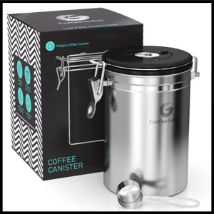Coffee Gator Large Canister Storage Vault with eBook and Scoop