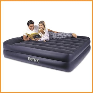 Intex Raised Airbed with Built-in Pillow and Electric Pump