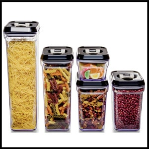 Royal Air-Tight Plastic Kitchen Canisters Food Storage Container Set