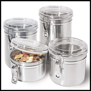 Oggi 4-Piece Stainless Steel Kitchen Canister, Acrylic Lid