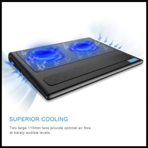 TeckNet Portable Ultra-Slim Quiet Laptop Cooling Pad Stand