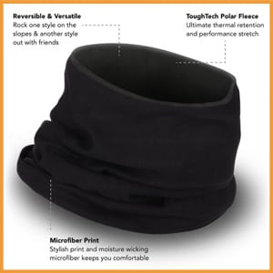 Tough Headwear Fleece Neck Warmer - Reversible Neck Gaiter Tube [Solids]