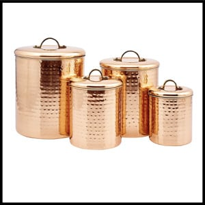 Old Dutch Copper Clad Stainless Steel Hammered Canister