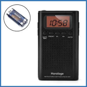 Horologe AM FM Pocket Radio, Portable Alarm Clock Radio