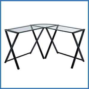 WE Furniture Elite Soreno Glass Corner Computer Desk