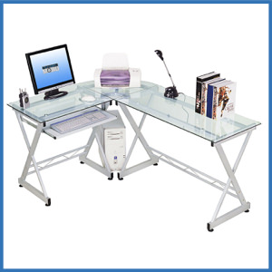 Techni Mobili Tempered Glass L Shape Corner Desk