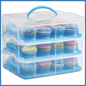VonShef Snap and Stack Blue 3-Tier Cupcakes Holder