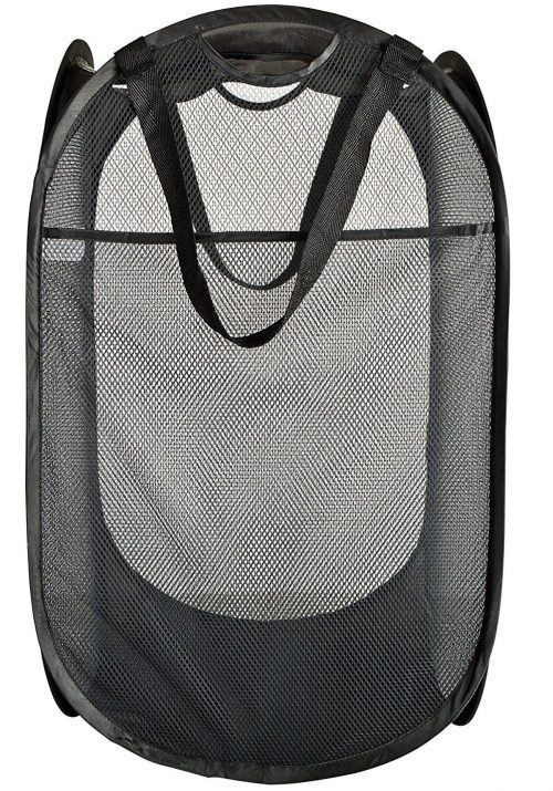 Deluxe Mesh Pop-Up Laundry Hamper with Side Pocket and handle