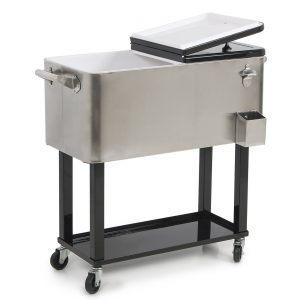 Belleze Portable Rolling-Ice Chest Cooler Cart 80-quart Patio Party Drink Ice, Stainless Steel