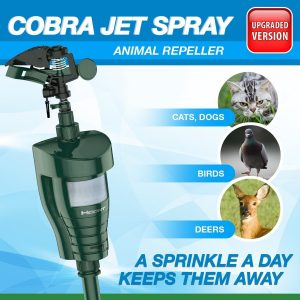Hoont Cobra Outdoor Water Blaster Animal Pest Repeller, Motion Activated