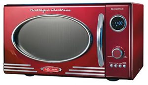 Nostalgia RMO400RED Retro Foot Microwave Oven, 0.9 Cubic