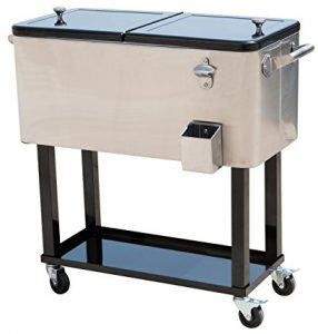 Outsunny stainless steel Rolling Ice- Chest Portable 80 Quarts Patio Party Drink Cooler Cart