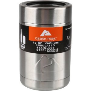 Ozark Trail Vacuum Insulated Stainless Steel Can Cooler, 12-ounce with Metal Gasket