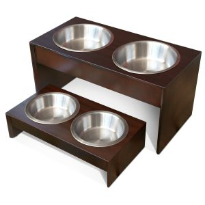 PetFusion Elevated Pet Feeder, Solid Wood Stand, and Stainless steel bowls