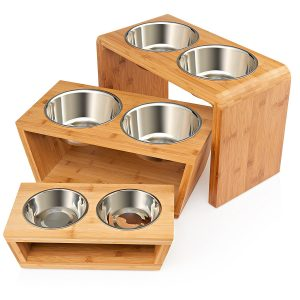 Premium Elevated Pet Feeder, Raised Double Stainless Steel Bowls