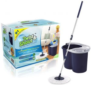 Twist and Shout Mop Hand Push Spin Mop with 2 Microfiber Mop Heads