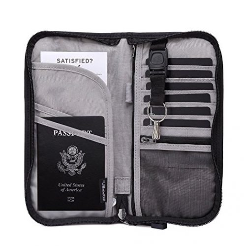 Zoppen Rfid Travel Wallet & Documents Zipper Organizer