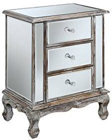 Convenience Concepts Gold Coast Collection 3-Drawer Mirrored End Table.