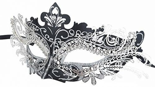 Coxeer Laser Cut Metal Lady Masquerade Halloween Mardi Gras Party Mask