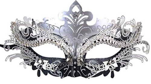 Coxeer Masquerade Mask Shiny Metal Rhinestone Venetian Pretty Party Evening Prom Mask.