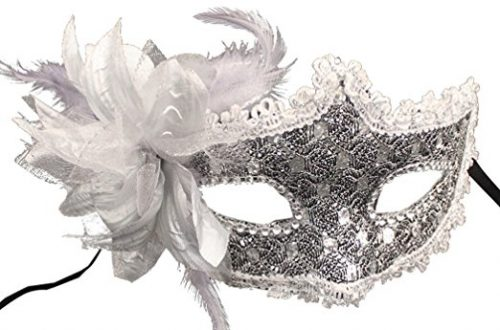 Coxeer Masquerade Mask for Women Mardi Gras Mask with Flowe