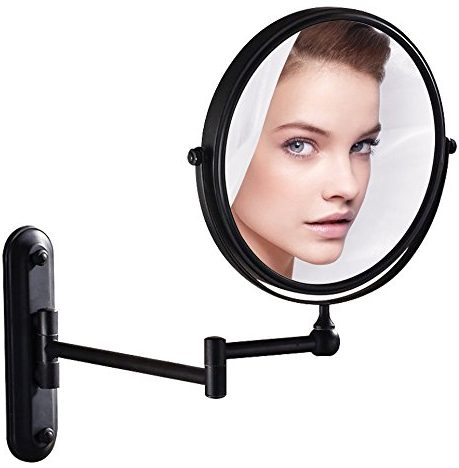 GURUN Wall Mounted Mirror Double Sided With 10X Magnification, Oil-Rubbed Bronze, No light, M1207O(8in,10x Magnification)