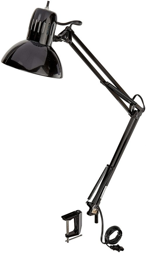 """Globe Electric 32"""" Multi-Joint Desk Lamp with Metal Clamp, Black Finish, 56963"""