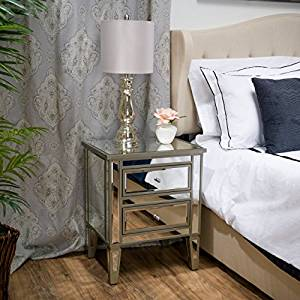 Graham Mirror Two-Drawer End Table Nightstand.