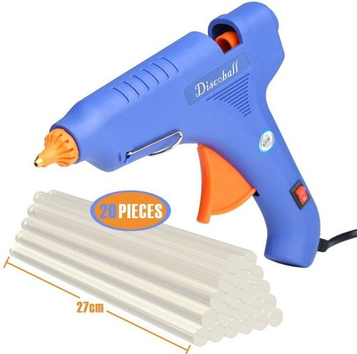 Hot Glue Gun, DISCOBALL 60 Watt Hot Melt Glue Gun with 20PCS Transparent Glue Gun Sticks for Arts & Crafts, & Sealing and Quick Repairs, Blue