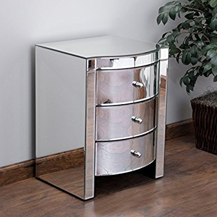 Jacinda Mirrored Accent 3-Drawer Nightstand.