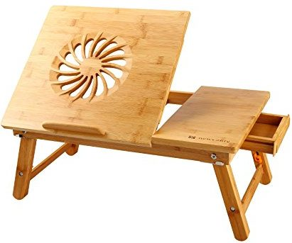 Laptop Desk Nnewvante Adjustable Laptop Desk Table Bamboo Foldable Breakfast Serving