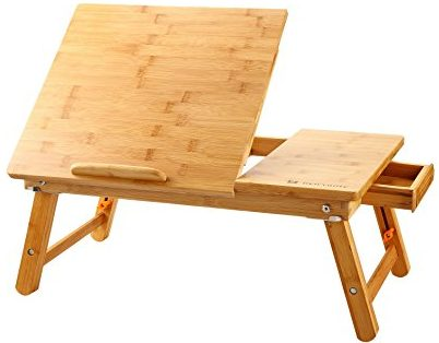 Laptop Desk Nnewvante Table Adjustable 100% Bamboo Foldable Tray w' Tilting Top Drawer