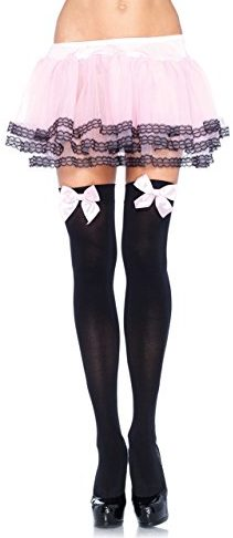 Leg Avenue Opaque Thigh High Stockings, with Satin Bows