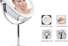 "Lighted Makeup Mirror - LED Vanity Makeup Mirror 7x Magnification Eye Makeup Mirror 7"" Touch Screen Adjustable Light, Vanity Mirror Polished Chrome Travel Mirror"