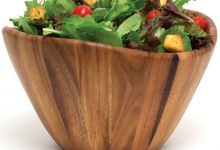 Lipper International 1174 Acacia Wave Serving Bowl of Fruits or Salads