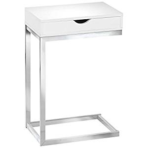 Monarch Specialties I 3031, Accent Table with a drawer, Chrome Metal, Glossy White