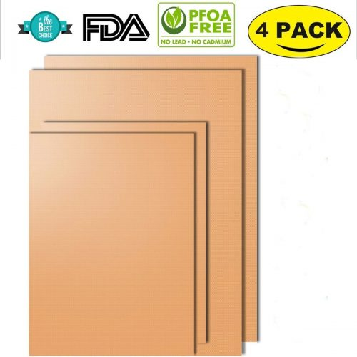 NETCAT -Copper Grill Mat Set of 4- 100% Non-stick BBQ Grill & Baking Mats - FDA-Approved, PFOA Free, Reusable and Easy to Clean - Works on Gas, Charcoal, Electric Grill and More