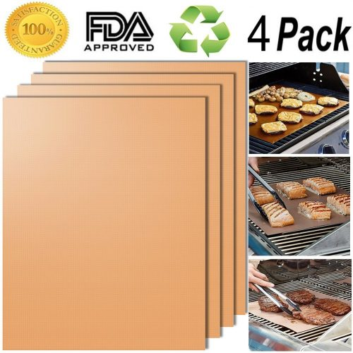 Smaid - Gold Grill Mat Set of 4 - 100% Non-stick BBQ Grill Mats - FDA-Approved
