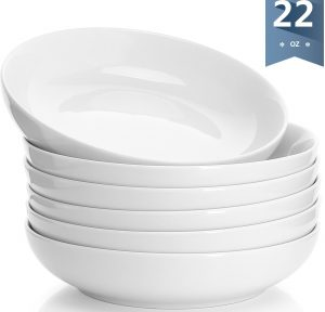 Sweese 1309 Porcelain Salad/ Pasta Bowls - 22 Ounce - Set of 6, White