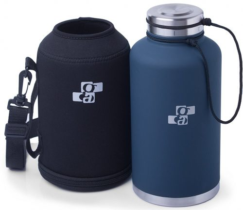Smart Flask 64oz Double Walled Vacuum Insulated Stainless Steel Growler//Beverage Bottle with Carrying pouch with adjustable strap.