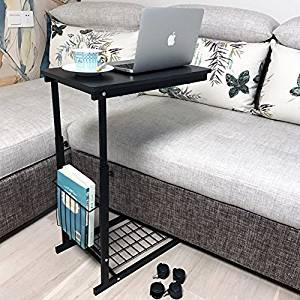 micoe Height Adjustable with wheels Sofa side table slides under an adjustable console table