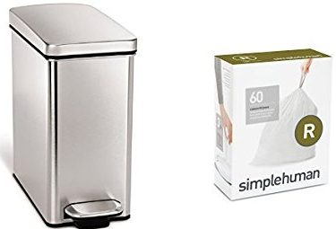 simplehuman 10 liter profile step can fingerprint-proof brushed stainless steel + code R 60 pack liners