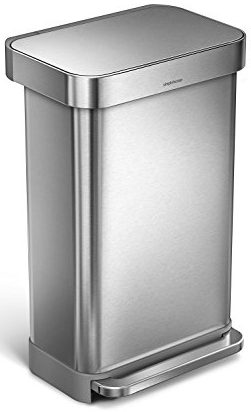 8. Simplehuman 45 Liter / 12 Gallon Stainless Steel Rectangular Kitchen  Step Trash Can