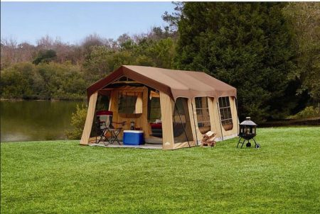 Large 10 Person Family Cabin Tent w/Front Porch, Room Divider, and Rear Door